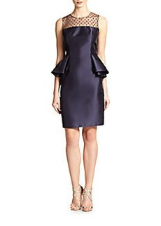 Carmen Marc Valvo Point D'Esprit Peplum Dress