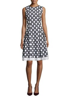 Carmen Marc Valvo Polka Dot Fit & Flare Dress