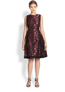 Carmen Marc Valvo Polka Dot Shantung Dress