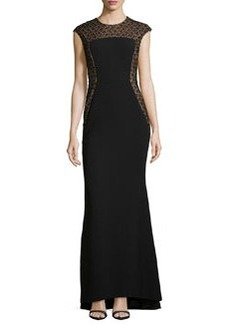 Carmen Marc Valvo Ponte Gown w/ Lace Detail, Black