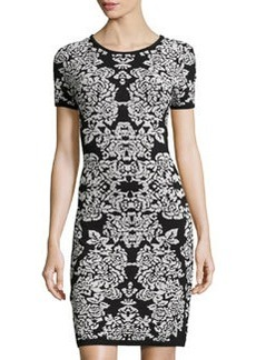 Carmen Marc Valvo Printed Jacquard Short-Sleeve Dress, Black/Ivory