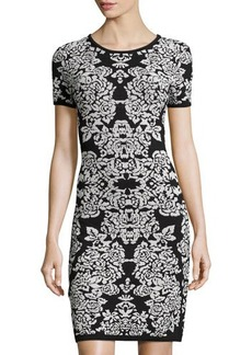 Carmen Marc Valvo Printed Jacquard Short-Sleeve Dress