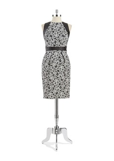 CARMEN MARC VALVO Printed Leather Trim Sheath Dress