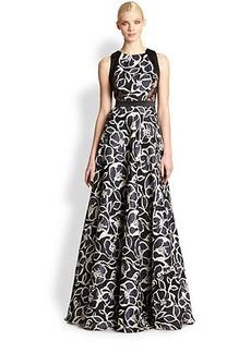 Carmen Marc Valvo Printed Silk Gazar Gown