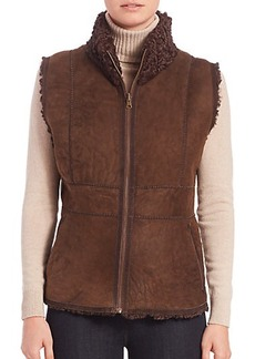 Carmen Marc Valvo Reversible Persian Lamb Fur Vest