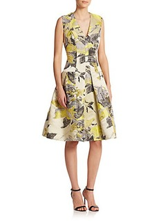 Carmen Marc Valvo Rose-Patterned Brocade Dress