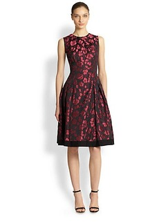 Carmen Marc Valvo Rose Petal Jacquard Cocktail Dress