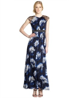 Carmen Marc Valvo royal blue floral long silk dress