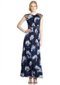 Carmen Marc Valvo royal blue floral long silk dress