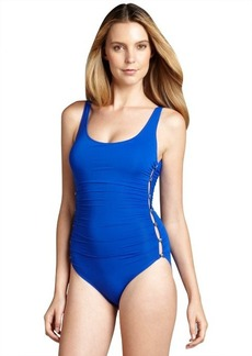 Carmen Marc Valvo royal shirred and cutout side 'Eco Resort' maillot