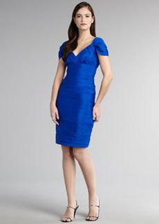 Carmen Marc Valvo Ruched Cap-Sleeve Cocktail Dress