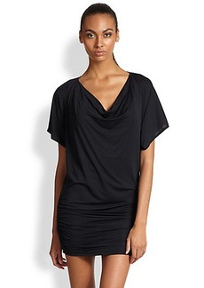 Carmen Marc Valvo Ruched Jersey Coverup