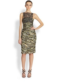 Carmen Marc Valvo Ruched Silk Cocktail Gown