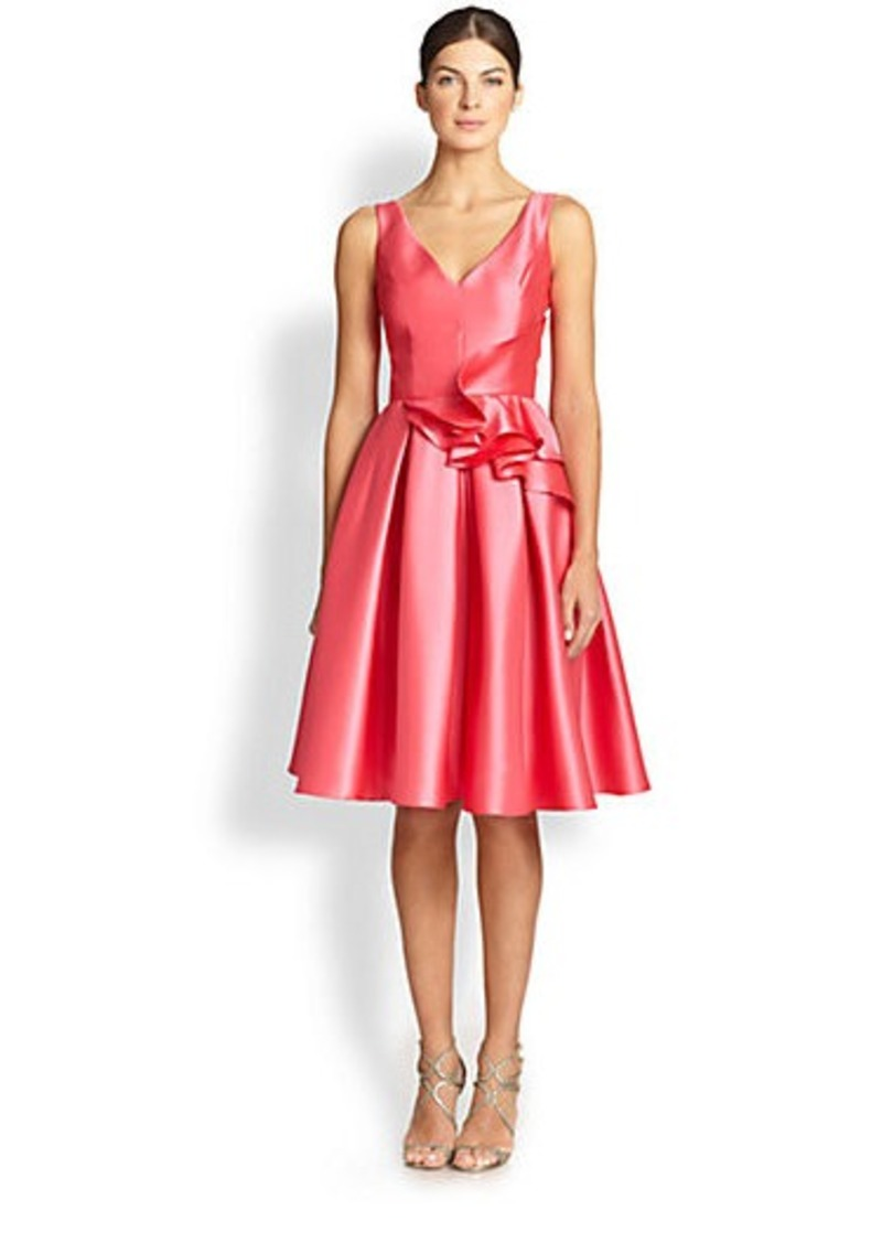 Carmen Marc Valvo Ruffle-Detail Twill Dress