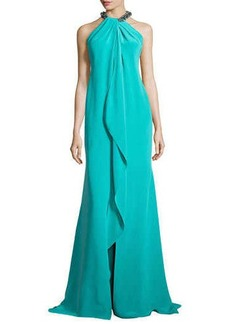 Carmen Marc Valvo Ruffled-Front Gown with Beaded Halter Neckline