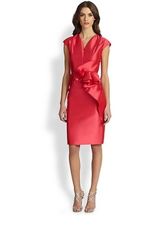 Carmen Marc Valvo Ruffled Twill Cocktail Dress