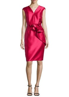 Carmen Marc Valvo Ruffled-Waist Cap-Sleeve Cocktail Dress, Lipstick