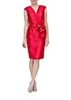 CARMEN MARC VALVO Ruffled-Waist Sheath Dress
