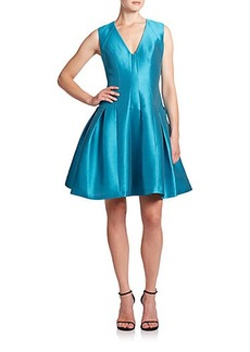 Carmen Marc Valvo Satin Piqué Party Dress