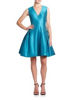 Carmen Marc Valvo Satin Piqué Party Dress