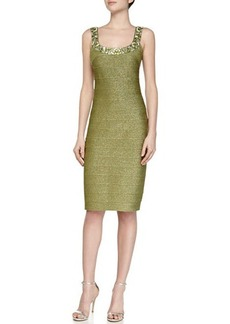 Carmen Marc Valvo Scoop-Neck Cocktail Sheath Dress