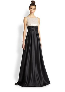 Carmen Marc Valvo Sequin Lace & Twill Combo Gown