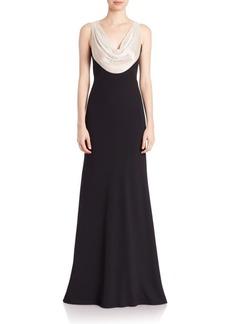 Carmen Marc Valvo Sequined-Cowlneck Gown