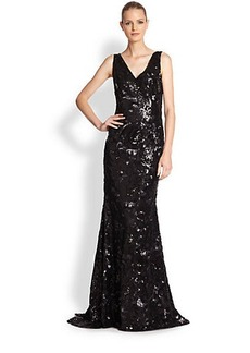 Carmen Marc Valvo Sequined Mermaid Gown
