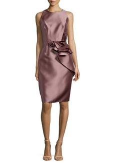 Carmen Marc Valvo Side-Peplum Sleeveless Cocktail Dress  Side-Peplum Sleeveless Cocktail Dress