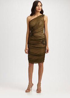 Carmen Marc Valvo Silk Chiffon Dress