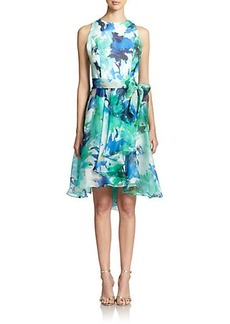 Carmen Marc Valvo Silk Floral Cocktail Dress
