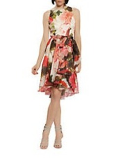 CARMEN MARC VALVO Silk Floral Party Dress