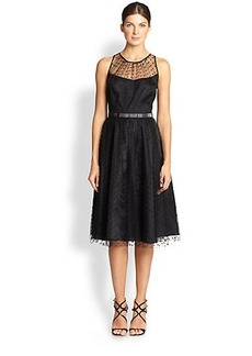 Carmen Marc Valvo Silk Point D'Esprit Dress