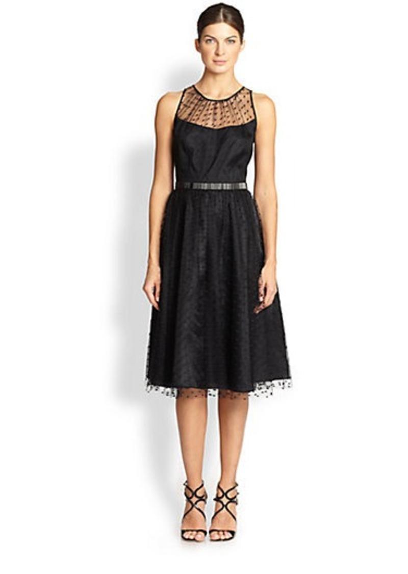 Carmen Marc Valvo Silk Point D'Esprit Dress