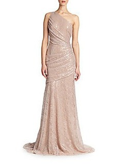 Carmen Marc Valvo Single-Shoulder Lace Gown
