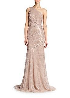 Carmen Marc Valvo Single-Shoulder Lace Gown