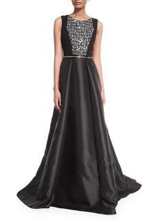 Carmen Marc Valvo Sleeveless Beaded Combo Gown