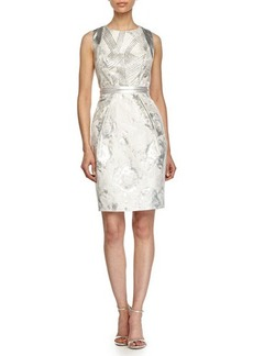 Carmen Marc Valvo Sleeveless Beaded-Top Floral Cocktail Dress