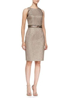 Carmen Marc Valvo Sleeveless Belt-Inset Sheath Cocktail Dress