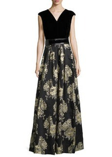Carmen Marc Valvo Sleeveless Belted Brocade-Skirt Gown