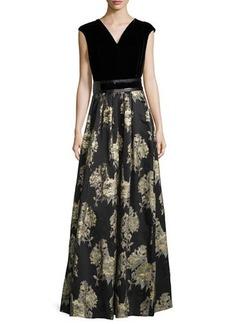 Carmen Marc Valvo Sleeveless Belted Brocade-Skirt Gown