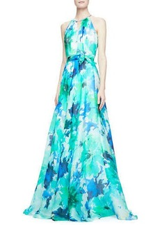 Carmen Marc Valvo Sleeveless Belted Floral Ball Gown