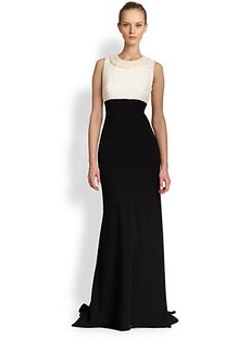 Carmen Marc Valvo Sleeveless Bicolored Gown