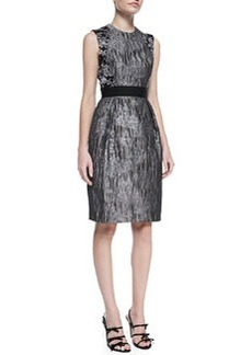 Carmen Marc Valvo Sleeveless Brocade Cocktail Dress