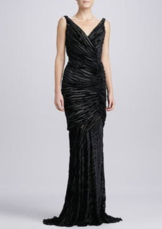 Carmen Marc Valvo Sleeveless Burnout Gown, Black