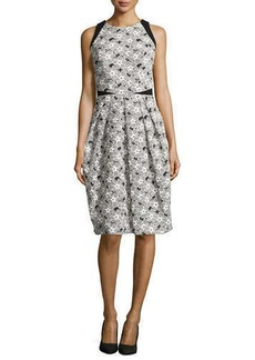 Carmen Marc Valvo Sleeveless Cocktail Dress with Lace Overlay  Sleeveless Cocktail Dress with Lace Overlay