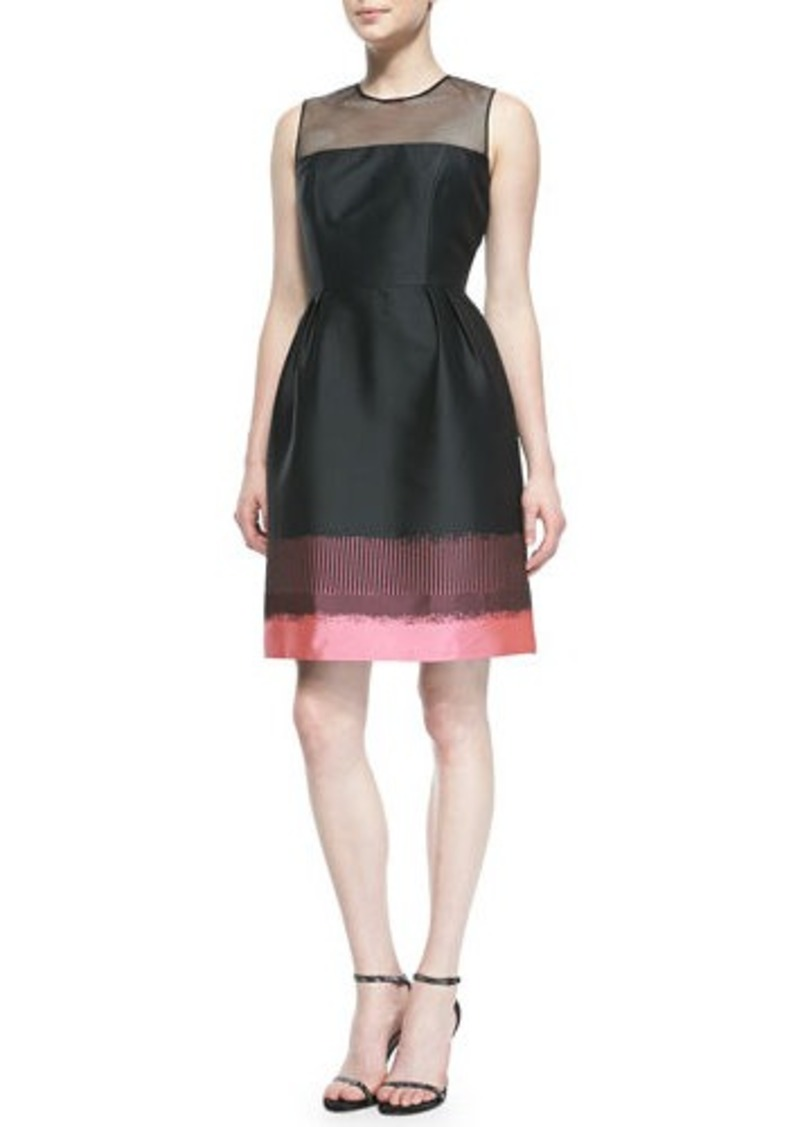 Carmen Marc Valvo Sleeveless Colorblock Band Cocktail Dress, Multicolor