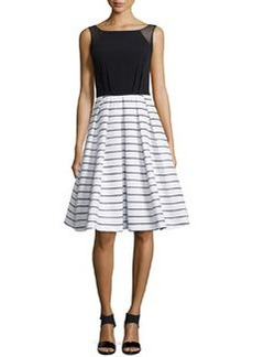 Carmen Marc Valvo Sleeveless Combo Dress, Black/White