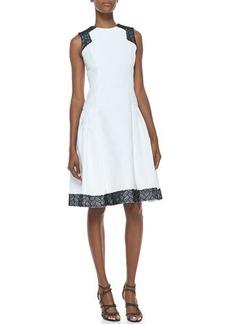 Carmen Marc Valvo Sleeveless Contrast Day Dress, White/Black