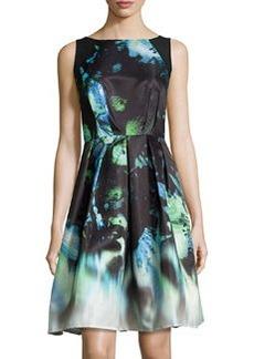 Carmen Marc Valvo Sleeveless Fit-&-Flare Dress, Black/Sapphire